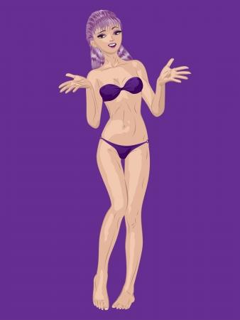 bikini model: Young beautiful cartoon girl with purple hair in violet bikini.