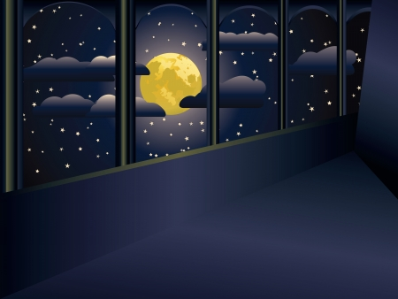 balcony view: View on a big yellow moon and stars from a balcony.
