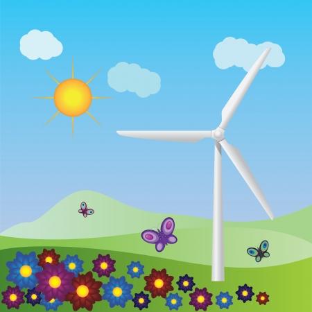 Summer landscape with wind turbine on grass field background. Фото со стока - 19758355