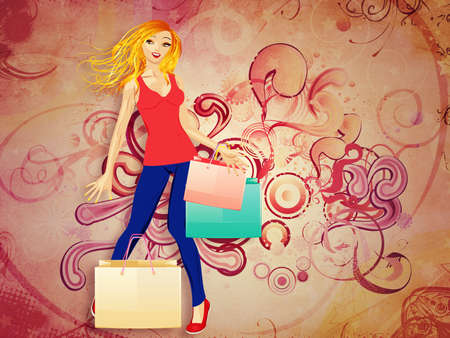 Colorful abstract background with happy shopping blond woman. photo
