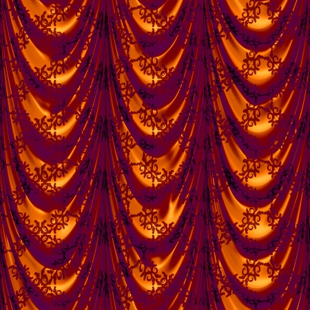 Vintage red satin curtains with pattern background. Stock Photo - 19758379