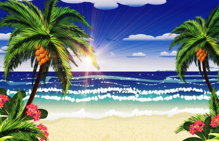 Beautiful background of tropical sea and beach with palms. Фото со стока - 19758405