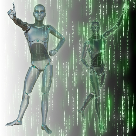 Abstract matrix green background with streaming code and humanoid. Фото со стока - 19758394