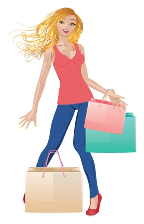 Pretty blonde girl in casual style with shopping bags. Vector
