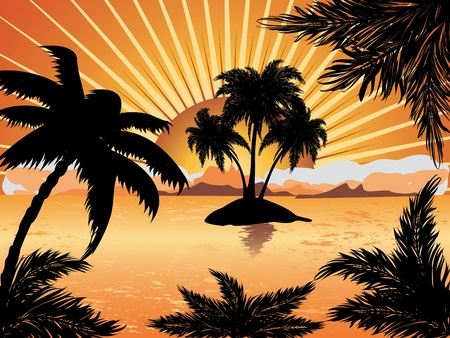 samui: Palm trees silhouette on sunset tropic beach background. Illustration