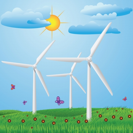 Green meadow with red flowers and wind turbines generating electricity.