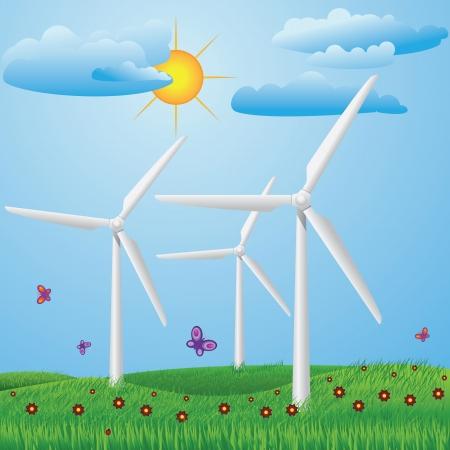 windfarm: Prato verde con fiori rossi e turbine eoliche per produrre elettricit�.