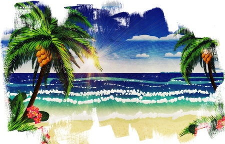 Beautiful background of tropical sea and beach with palms.