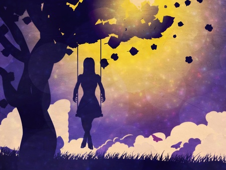 sad little girl: Silhouette of a girl on swing under the tree at night time grunge background.