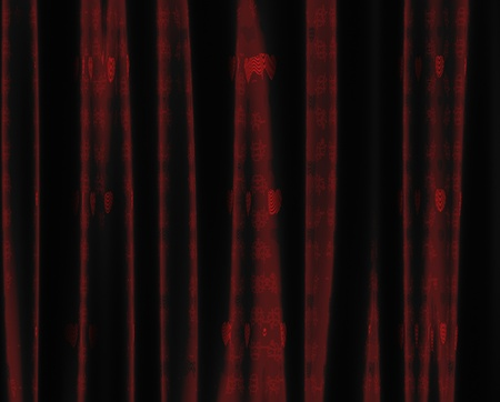 Luxury curtain of red color with heart pattern background. photo