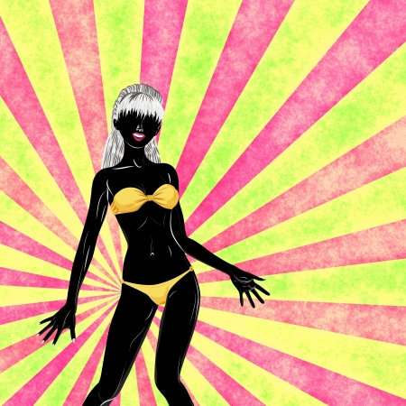 sexy image: Female silhouette in yellow bikini on colorful background.