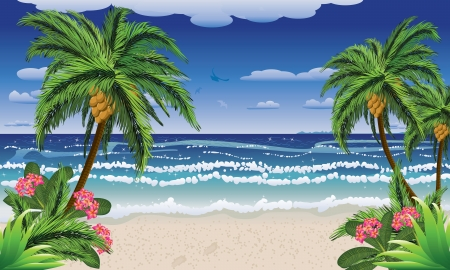 island clipart: Beautiful background of tropical sea and beach with palms.