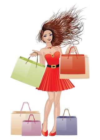 Beautiful brunette girl in red dress with shopping bags on white background. Vector