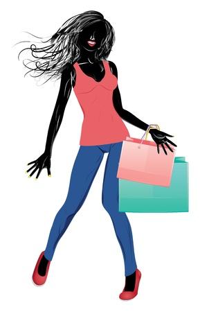 ふだん着: ショッピング バッグとカジュアルな服装で女の子のシルエット。  イラスト・ベクター素材
