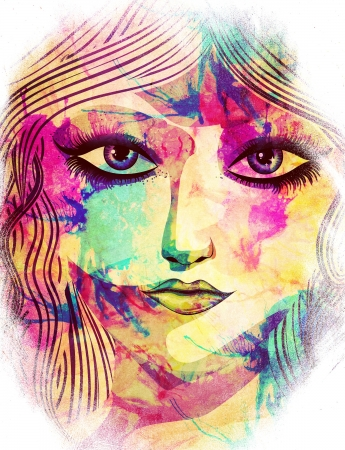 Beauty woman face with long hair grunge background. photo