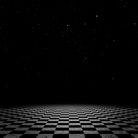 Surreal fantasy landscape of a vast checkered floor with night starry sky.