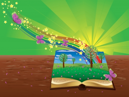 Open book with grass field, butterflies and abstract rainbow. Vector
