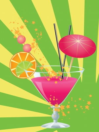 Cocktail of pink color garnished with a small umbrella, straw and orange slice.