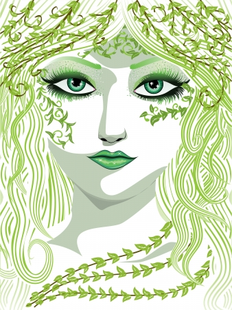 Beauty woman face with long hair and fresh green leaves. Vector