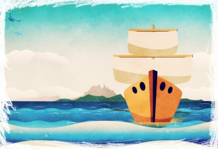 Seascape and cartoon wooden boat with a sail.