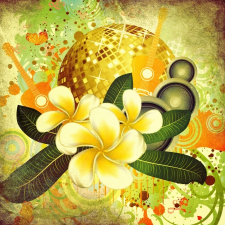 Grunge Tropischen Hintergrund Mit Disco-Kugel, Palmen, Weiße ...