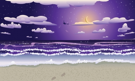 Tropical beach at night and crescent moon in the sky