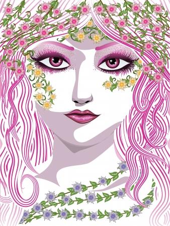 Visage de femme de beauté avec les cheveux, les feuilles et les fleurs vertes longues.