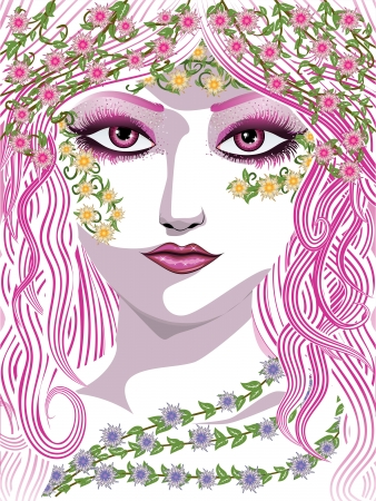 Beauty woman face with long hair, green leaves and flowers. Vector