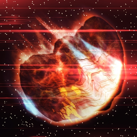 bolide: Abstract big burning asteroid flying through the space. Stock Photo