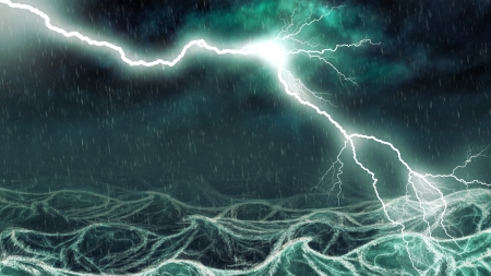 Active thundershower over the sea digital illustration. illustration