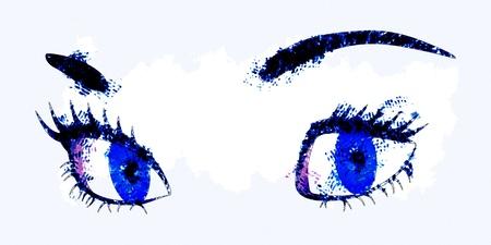 long eyelashes: Female eyes of blue color, digital watercolor effect.