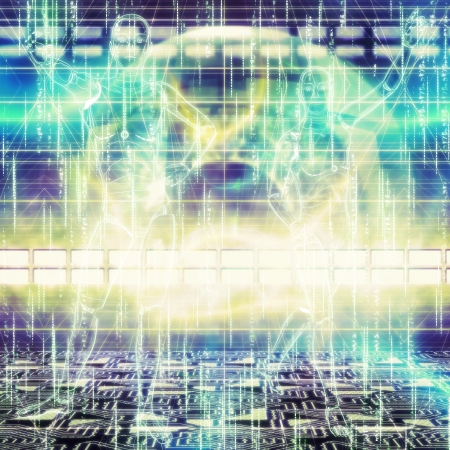 cybernetics: Abstract futuristic background with a glowing humanoids working.  Stock Photo