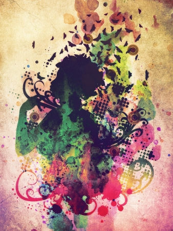 feminize: Abstract colorful illustration of a female profile with butterflies. Stock Photo