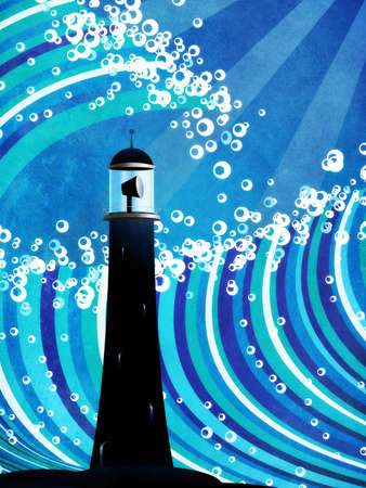 Abstract grunge illustration of lighthouse silhouette in the sea. illustration
