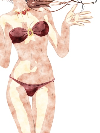 Abstract shopping girl in bikini in digital watercolor style picture. photo
