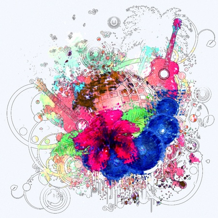 Abstract retro grunge tropical party poster with hibiscus and disco ball.