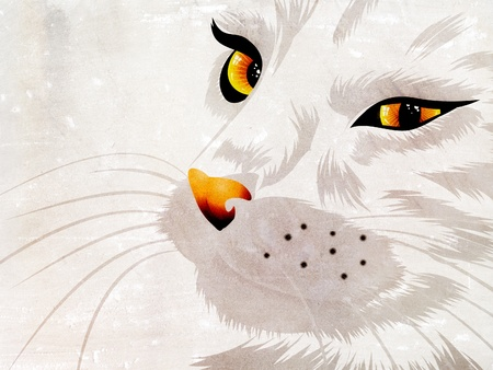 watchful: Illustration of a cat with yellow eyes on white background.