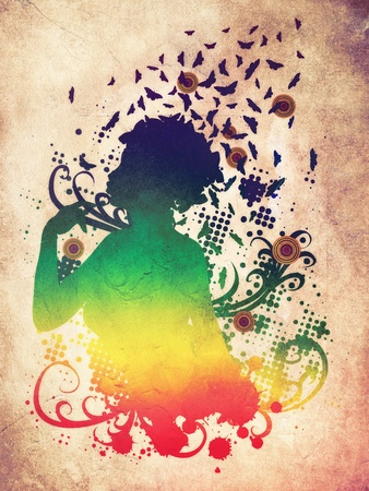 Abstract colorful illustration of a female profile with butterflies. illustration