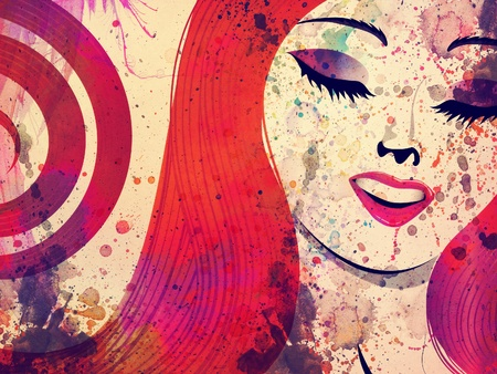 Grunge portrait of an abstract girl with red hair and closed eyes background.