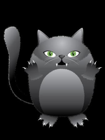 Abstract cartoon halloween cat on black background. photo