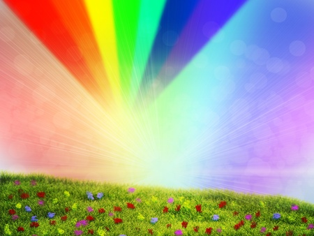 Summer background with flowers on grass field over rainbow sky. Stock Photo - 20584079