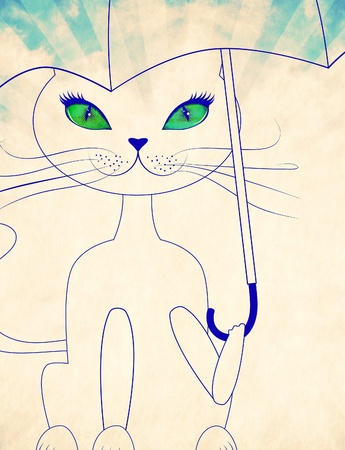 Cartoon cat with green eyes holding umbrella, illustration in black and white colors. illustration