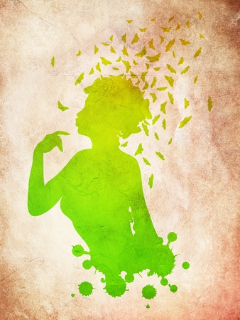 feminize: Grunge colorful illustration of a female profile with butterflies. Stock Photo
