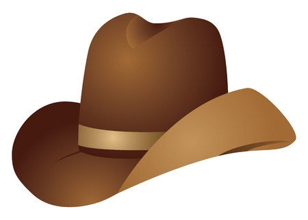 brown leather hat: Illustration of brown cowboy hat on white background.