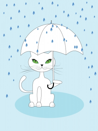Cartoon cat with green eyes holding umbrella on blue rainy background. Vector