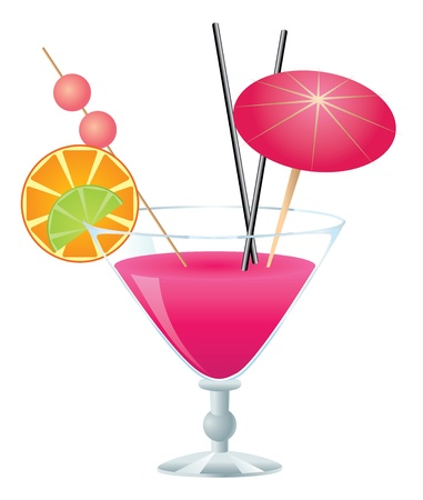 Tropical pink cocktail with small umbrella on white background.