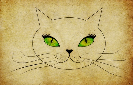 Cartoon cat face with green eyes and long whiskers on grunge background.