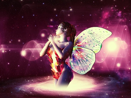 Beautiful magic fairy on colorful space background. Stock Photo - 20584180