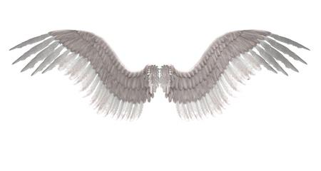 デジタルのレンダリング画像の白い羽をつけられた天使の翼。
