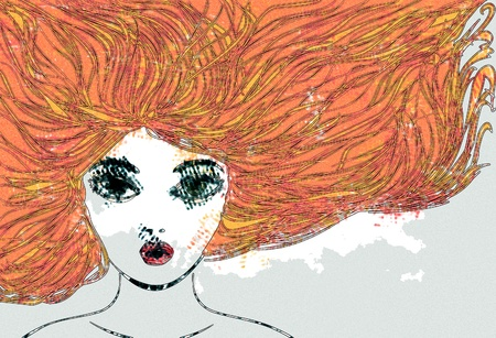 golden hair: Abstract portrait of a girl with red hair, digital watercolor effect.